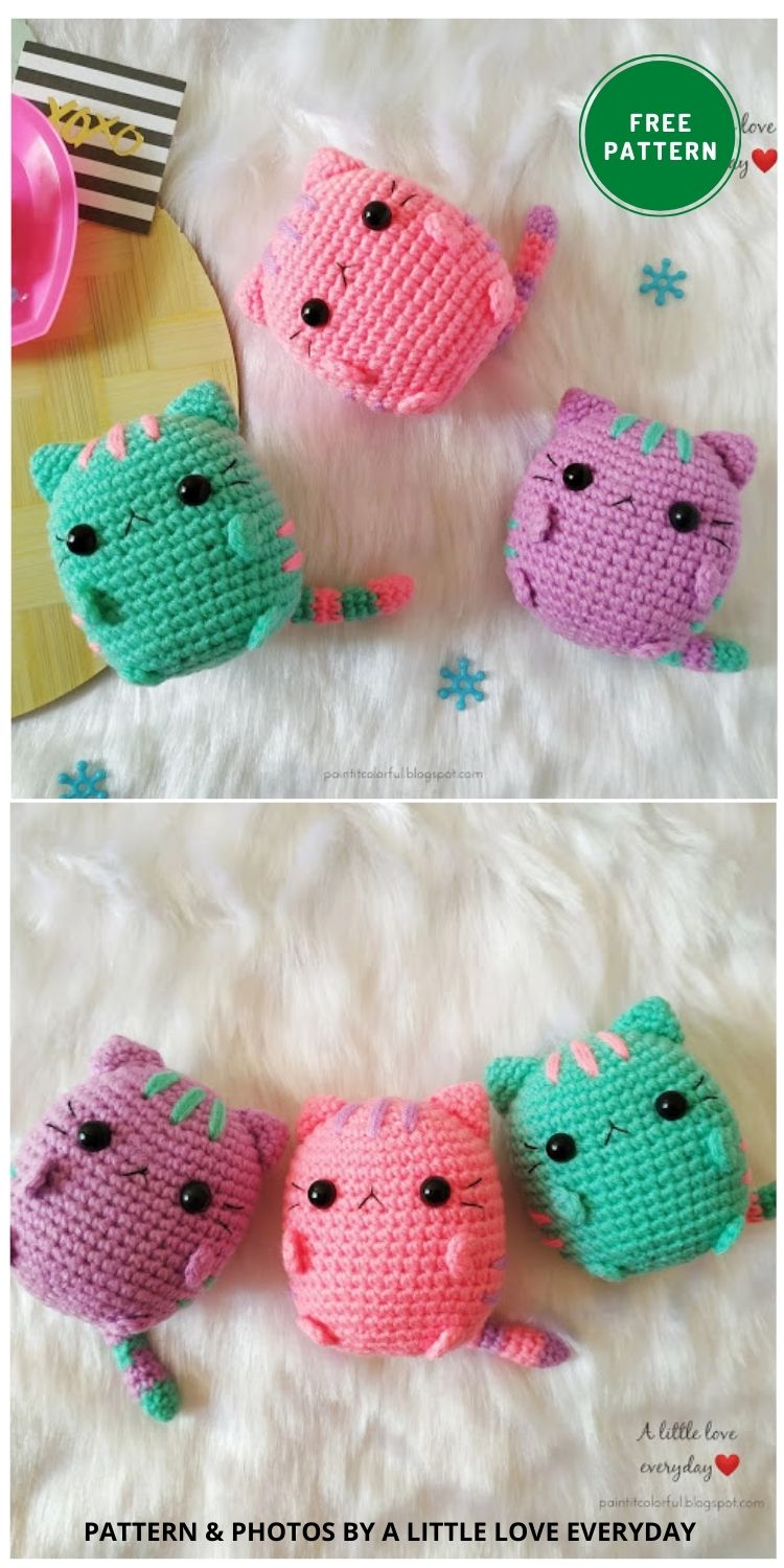 Pastel Pusheen Amigurumi - 14 Free Amigurumi Cat Crochet Patterns