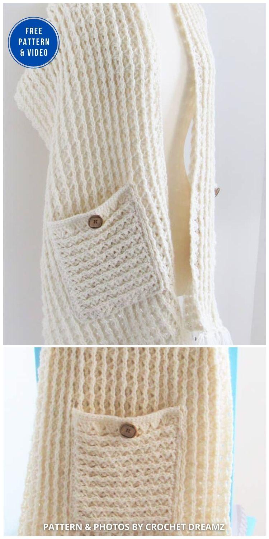 Penelope Shawl - 19 Quick & Easy Pocket Shawl Crochet Patterns