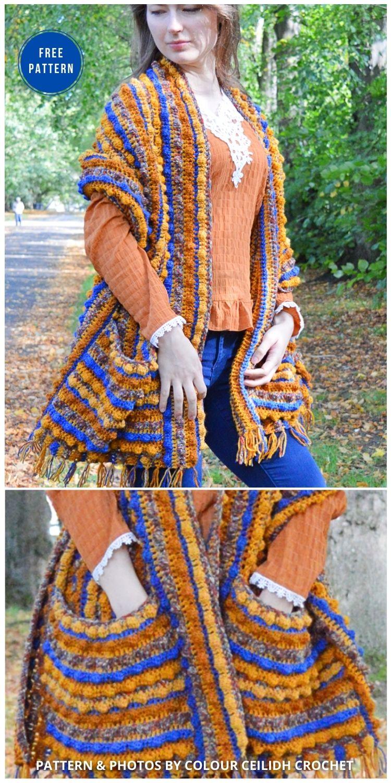 Pocket Shawl - 19 Quick & Easy Pocket Shawl Crochet Patterns (1)
