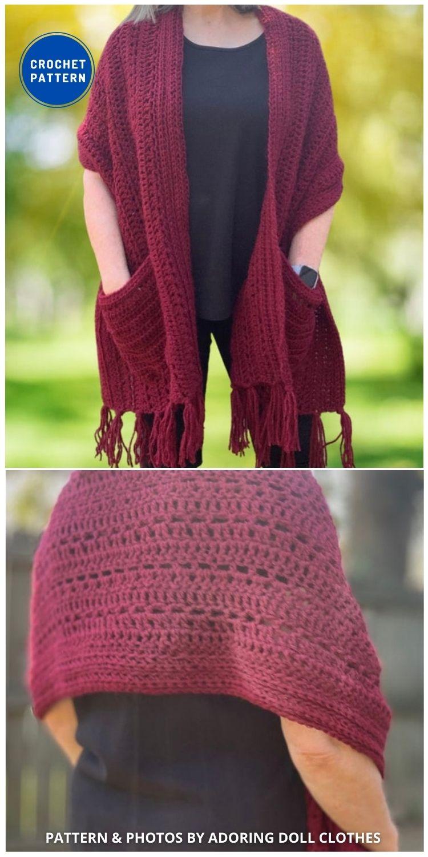 Pocket Shawl - 19 Quick & Easy Pocket Shawl Crochet Patterns
