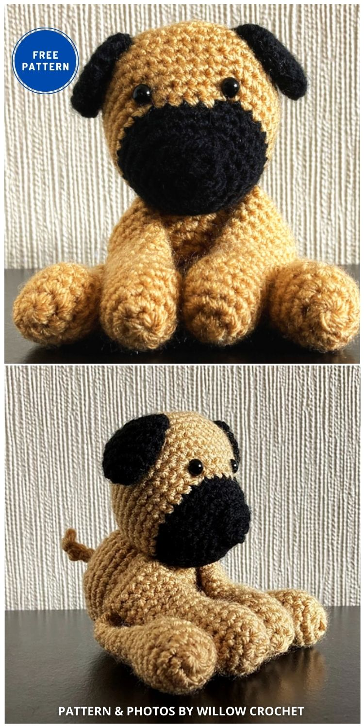 Pug Amigurumi - 17 Free Amigurumi Dog Crochet Patterns INDIVIDUAL