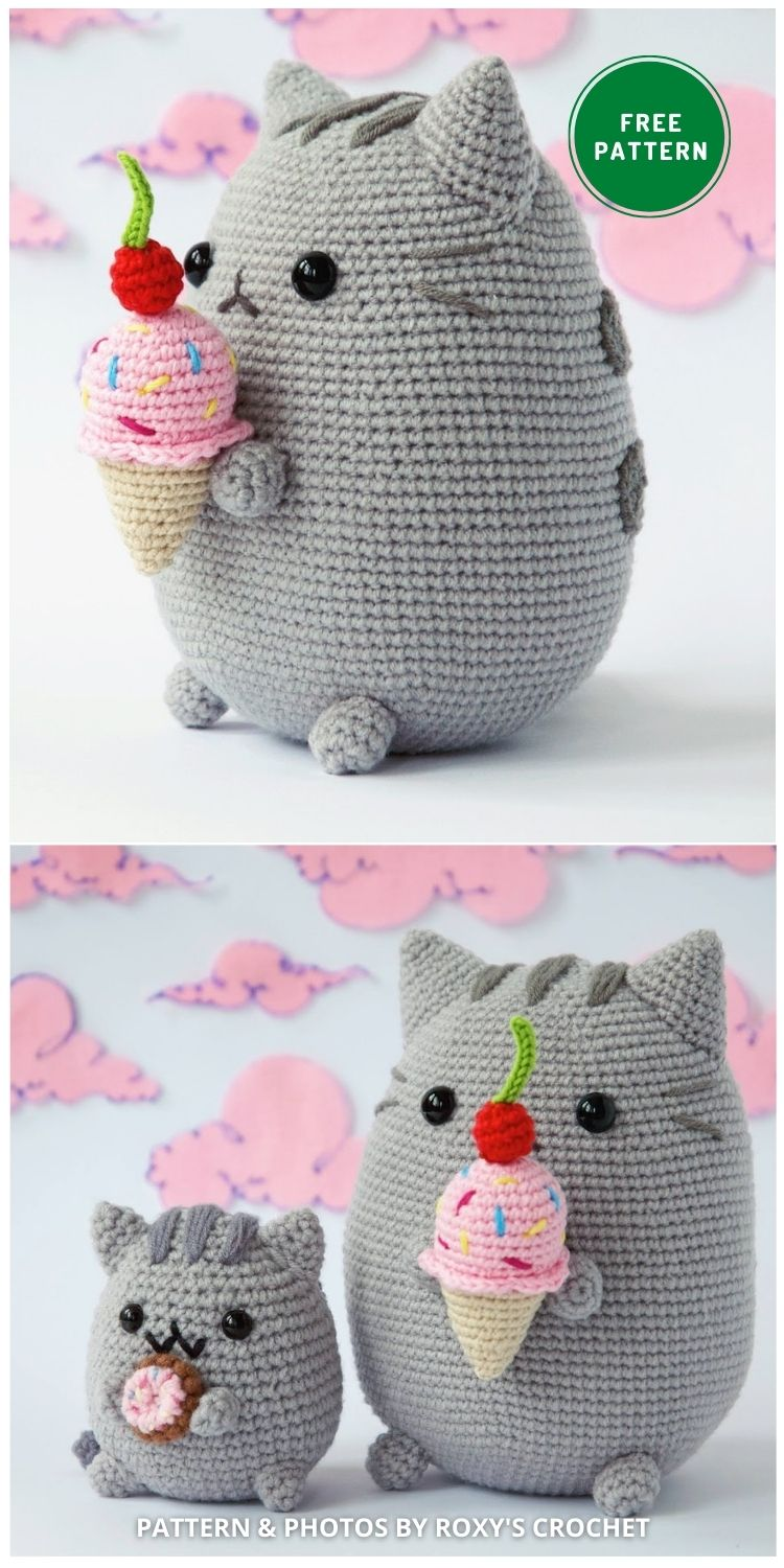 Pusheen with Ice Cream - 14 Free Amigurumi Cat Crochet Patterns
