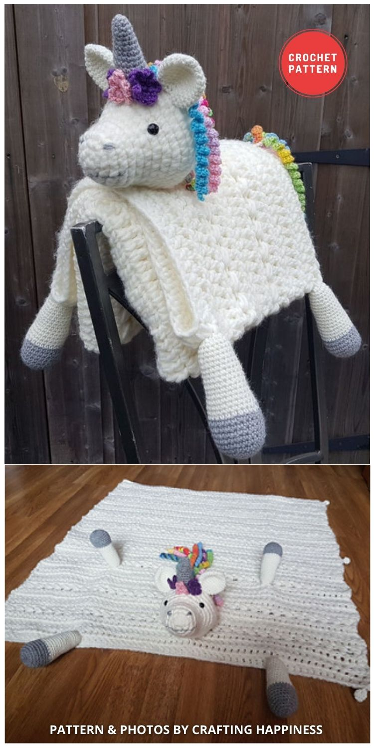 Rainbow Unicorn Baby Blanket - 15 Adorable Animal Baby Blankets To Crochet For Your Baby