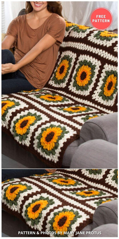 Red Heart Crochet Sunflower Throw - 8 Free Summer Sunflower Blanket & Afghan Crochet Patterns INDIVIDUAL