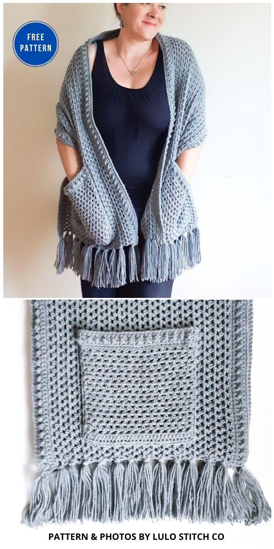 Sabrina Crochet Pocket Wrap - 19 Quick & Easy Pocket Shawl Crochet Patterns