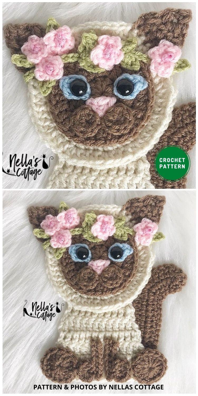 Siamese Applique - 12 Super Cute Crochet Animal Applique Patterns