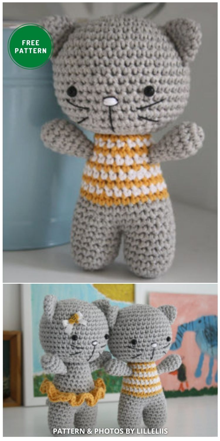 Small Cat With Joined Legs - 14 Free Amigurumi Cat Crochet Patterns