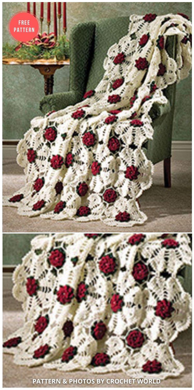 Snowflake Rose - 10 Free Beautiful Rose Blankets & Afghans Crochet Patterns