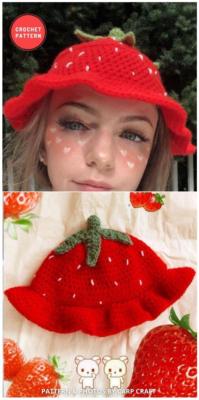 Strawberry Bucket Hat - 15 Easy Crochet Bucket Hat Patterns For Summer