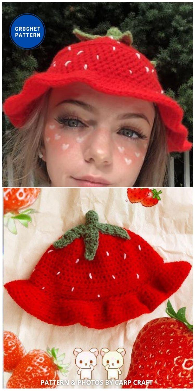 Strawberry Bucket Hat - 8 Cute & Easy Crochet Strawberry Bucket Hat Patterns