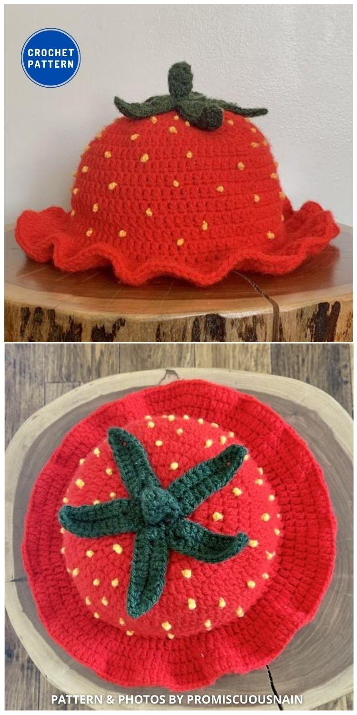 Strawberry Crochet Bucket Hat - 8 Cute & Easy Crochet Strawberry Bucket Hat Patterns (1)
