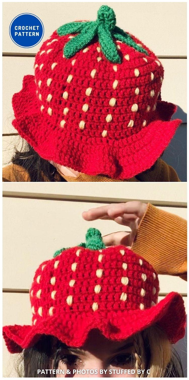 Strawberry Shortcake Bucket Hat - 8 Cute & Easy Crochet Strawberry Bucket Hat Patterns