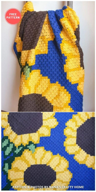 Sunflower C2C Crochet Blanket - 8 Free Summer Sunflower Blanket & Afghan Crochet Patterns