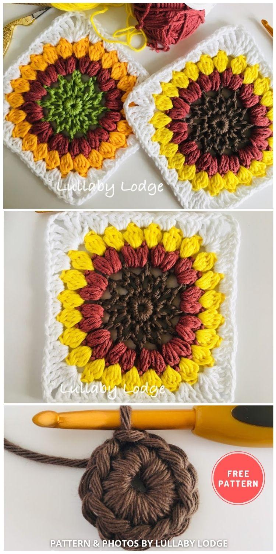 Sunflower Granny Squares - 8 Free Summer Sunflower Blanket & Afghan Crochet Patterns