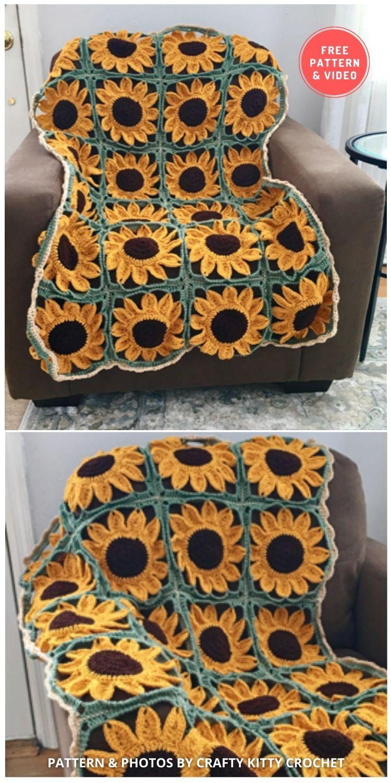 Sunflower Square Blanket - 8 Free Summer Sunflower Blanket & Afghan Crochet Patterns