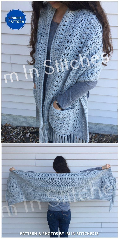 The Lesley Pocket Shawl - 19 Quick & Easy Pocket Shawl Crochet Patterns