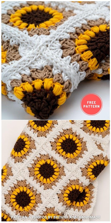 The Sunflower Blanket Crochet - 8 Free Summer Sunflower Blanket & Afghan Crochet Patterns INDIVIDUAL