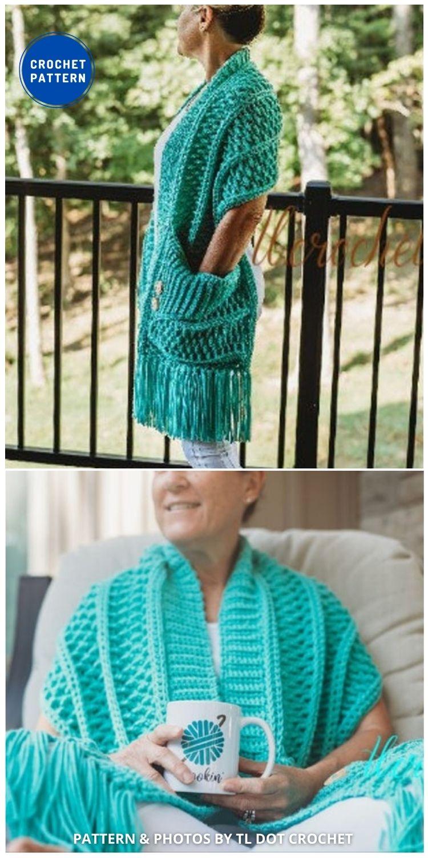 Turnberry Pocket Scarf - 19 Quick & Easy Pocket Shawl Crochet Patterns