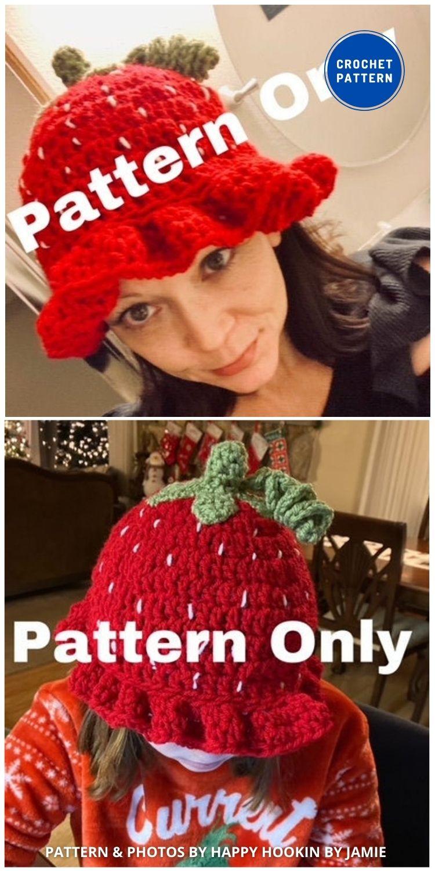 Very Berry Bucket Hat - 8 Cute & Easy Crochet Strawberry Bucket Hat Patterns