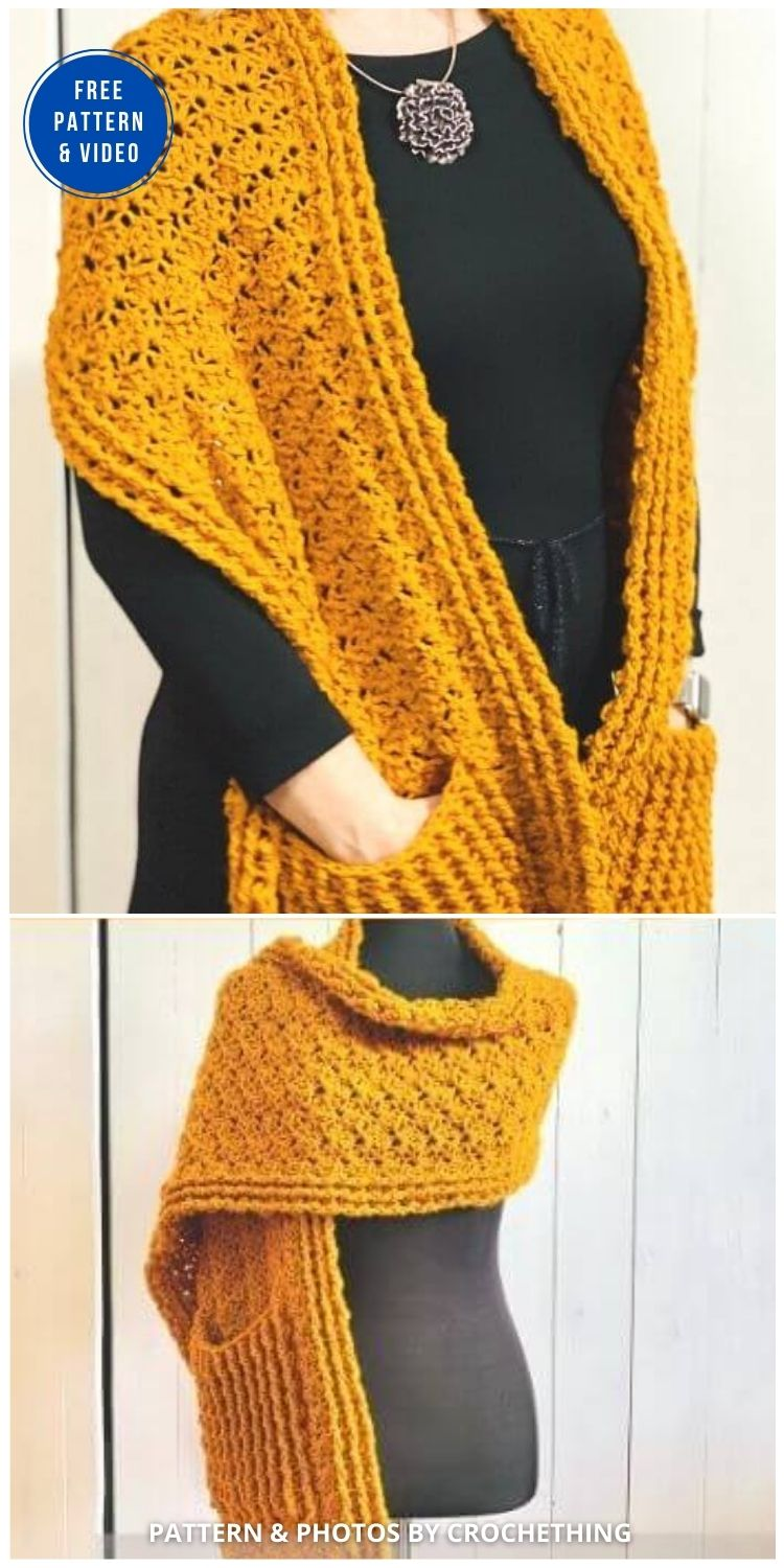 Wave After Wave Pocket Shawl - 19 Quick & Easy Pocket Shawl Crochet Patterns