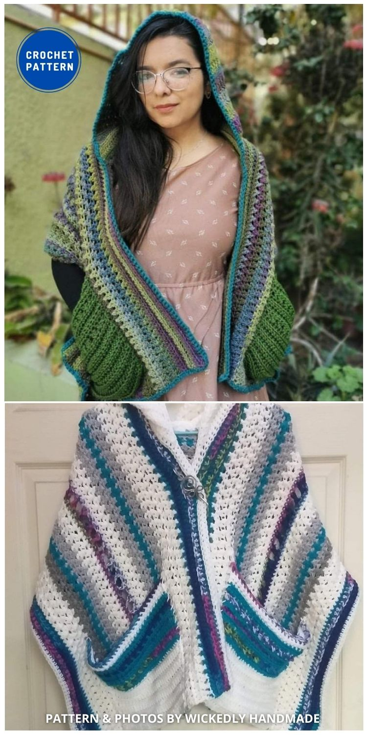 Wickedly Hooded Pocket Shawl - 19 Quick & Easy Pocket Shawl Crochet Patterns