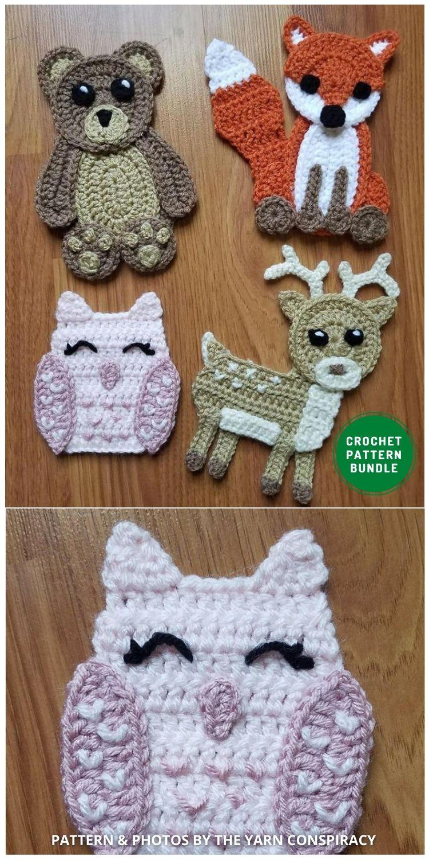 Woodland Animals Applique - 12 Super Cute Crochet Animal Applique Patterns