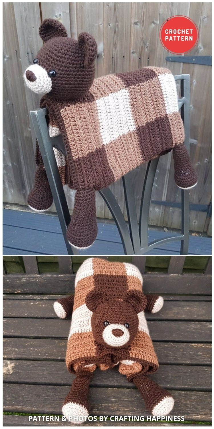Woodland Bear Baby Blanket - 15 Adorable Animal Baby Blankets To Crochet For Your Baby