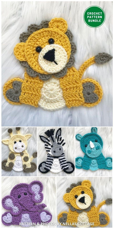 _Zoo Animal Appliques - 12 Super Cute Crochet Animal Applique Patterns