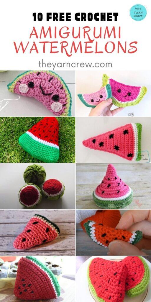 10 Free Crochet Amigurumi Watermelons - PIN2
