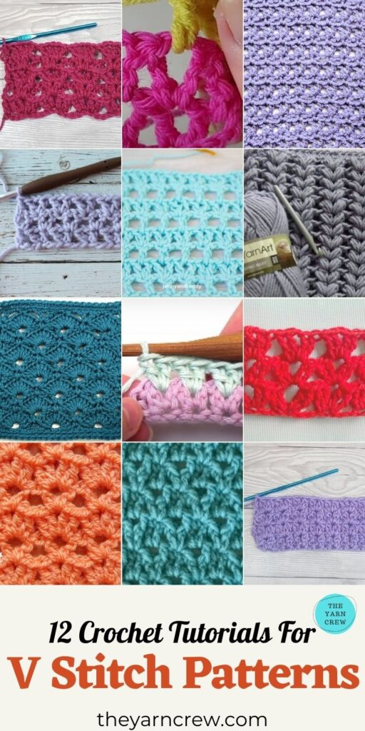 12 Crochet Tutorials For V Stitch Patterns - PIN3