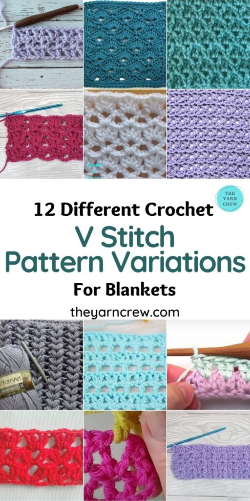 12 Different Crochet V Stitch Pattern Variations For Blankets - PIN1
