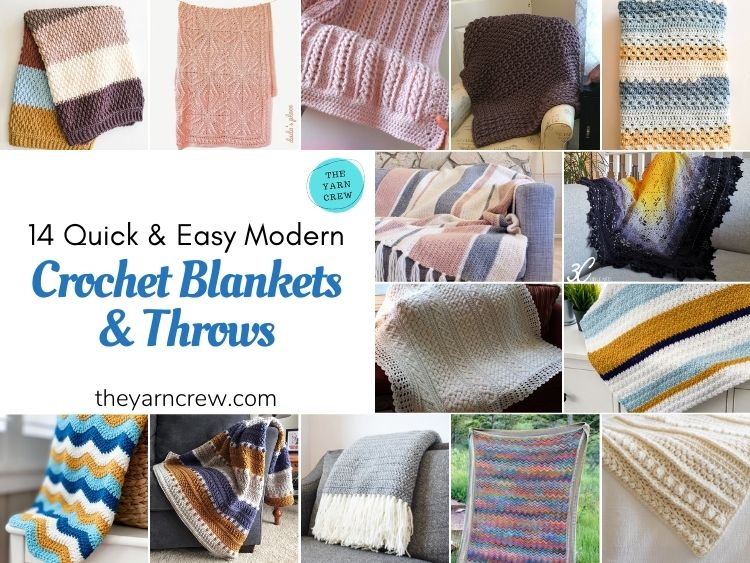 14 Quick & Easy Modern Crochet Blankets & Throws - FB POSTER