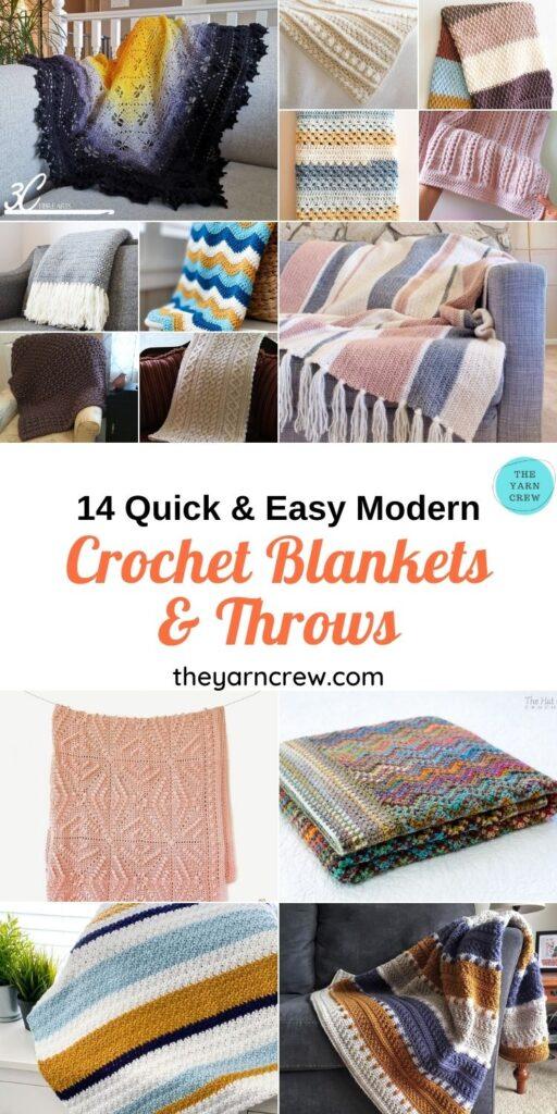 14 Quick & Easy Modern Crochet Blankets & Throws - PIN1