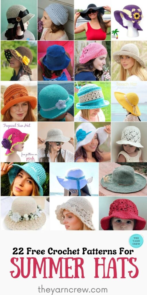 _22 Free Crochet Patterns For Summer Hats - PIN2