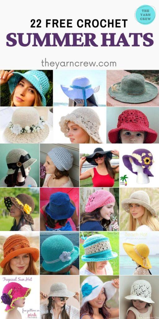 22 Free Crochet Summer Hats - PIN2