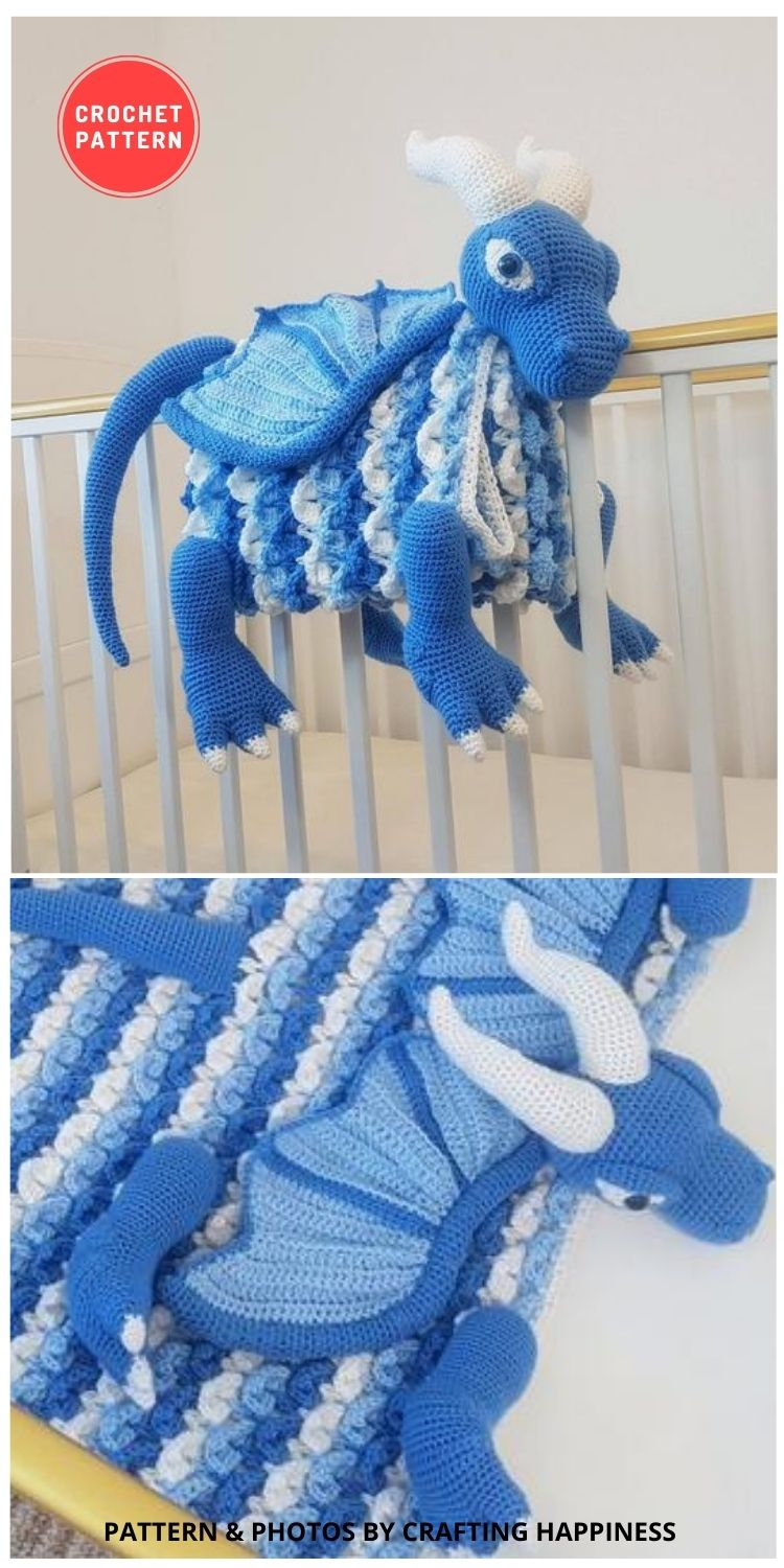 3in1 Ice Dragon Baby Blanket Crochet Pattern - 14 Best Amigurumi Dragon Crochet Patterns To Make For Your Little One BLOG PIN
