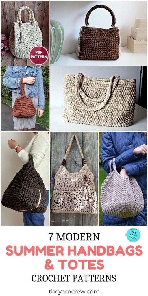 7 Modern Summer Handbags & Totes Crochet Patterns PIN 3