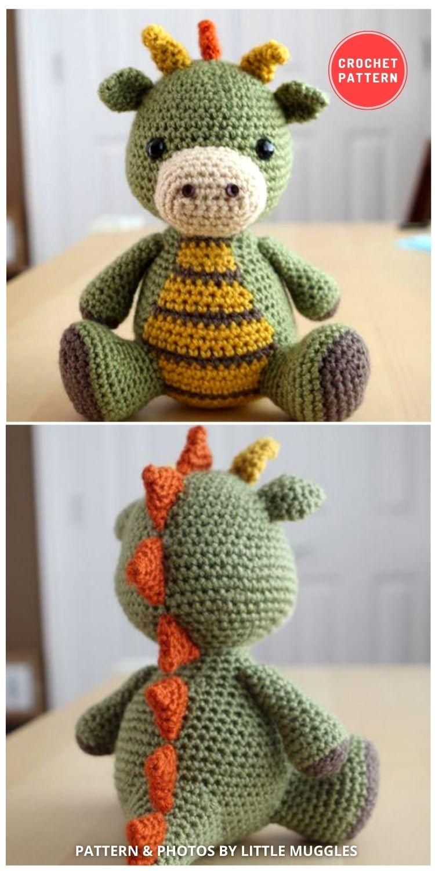 Amigurumi Crochet Pattern - Spike the Dragon - 14 Best Amigurumi Dragon Crochet Patterns To Make For Your Little One BLOG PIN