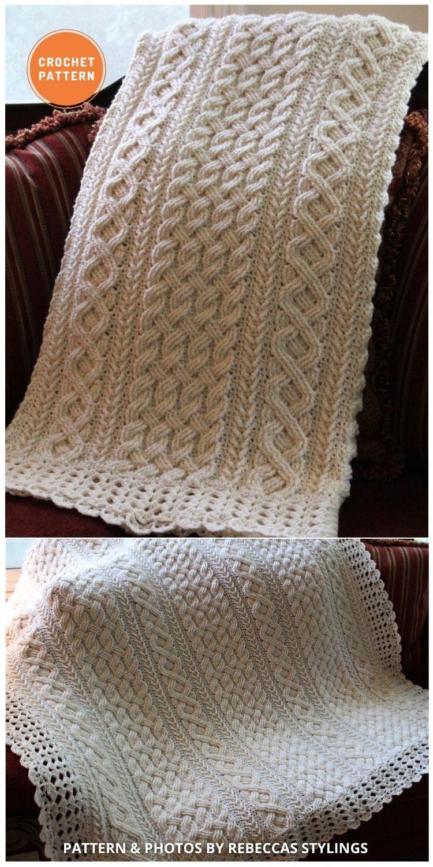 Braemar Cable Braided Blanket - 15 Quick & Easy Modern Crochet Blankets & Throws