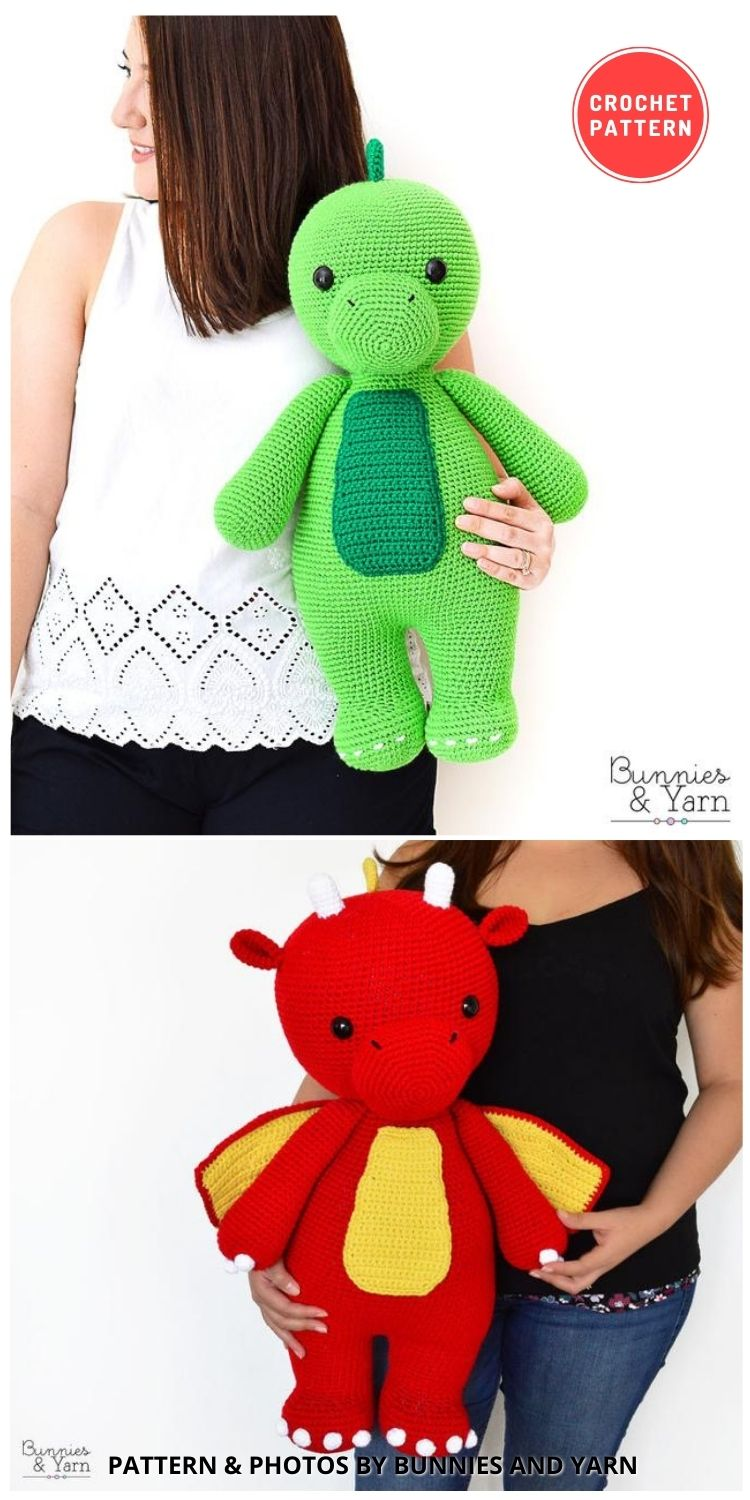 Danny the Big Dinosaur_Dragon - 14 Best Amigurumi Dragon Crochet Patterns To Make For Your Little One BLOG PIN