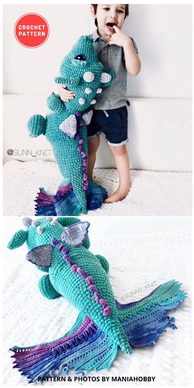 Dragon Aqua Dino - 14 Best Amigurumi Dragon Crochet Patterns To Make For Your Little One BLOG PIN
