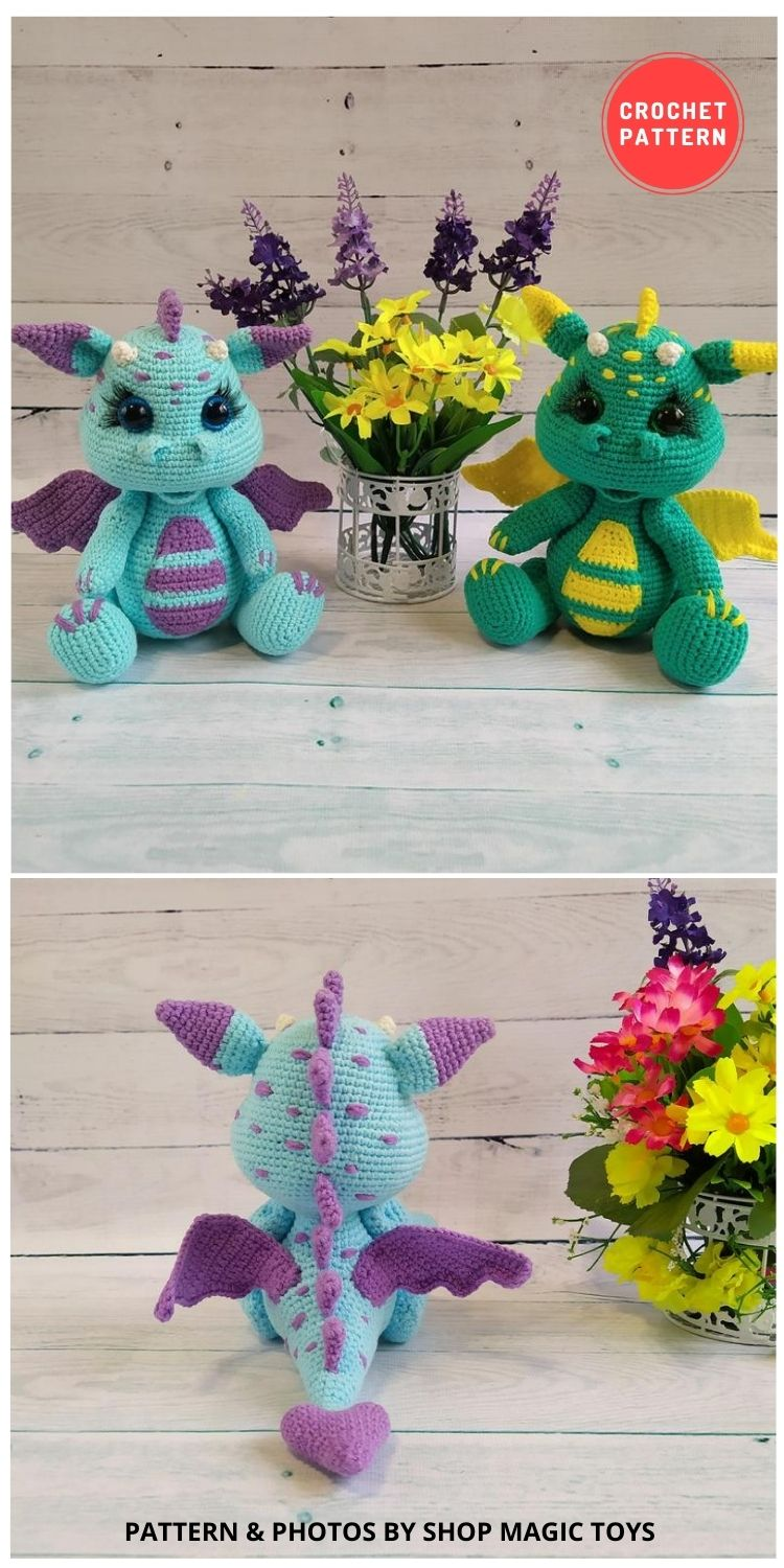 Dragon baby Amigurumi Toy - 14 Best Amigurumi Dragon Crochet Patterns To Make For Your Little One BLOG PIN