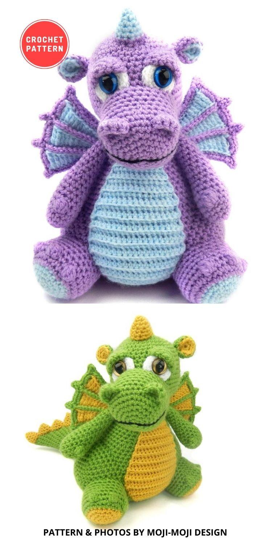 Drake the Dragon - Amigurumi Crochet Pattern - 14 Best Amigurumi Dragon Crochet Patterns To Make For Your Little One BLOG PIN