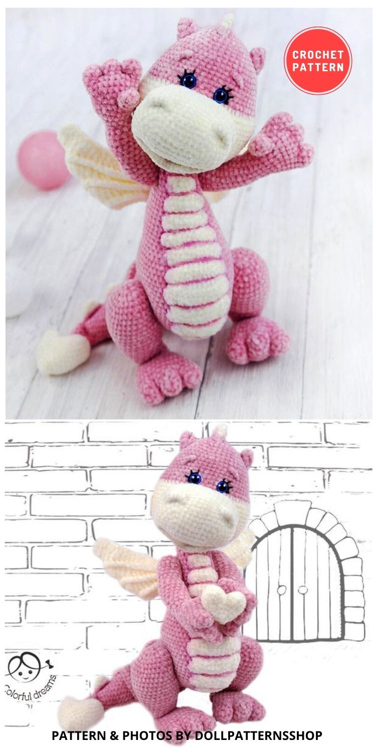 Little Dragon - 14 Best Amigurumi Dragon Crochet Patterns To Make For Your Little One BLOG PIN