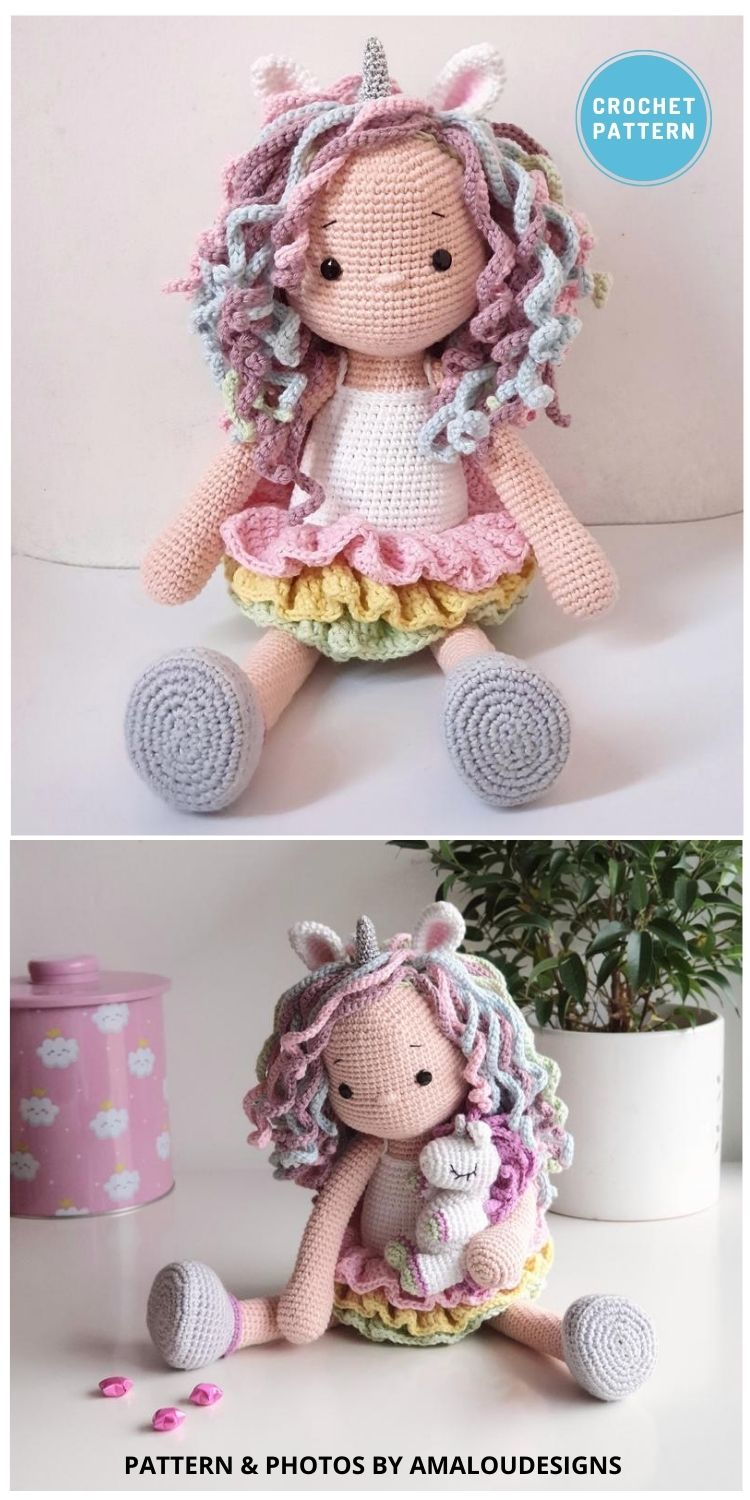 Lou The Unicorn Doll - 14 Best Amigurumi Dragon Crochet Patterns To Make For Your Little One PIN