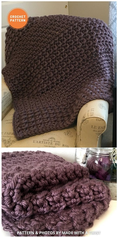 Super Chunky Blanket - 15 Quick & Easy Modern Crochet Blankets & Throws