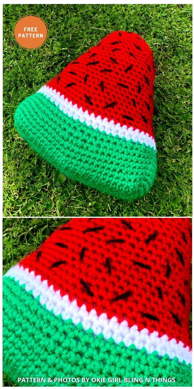 Watermelon Slice - 10 Cutest Free Amigurumi Watermelon Crochet Patterns