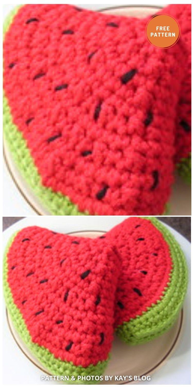 Watermelon slice - 10 Cutest Free Amigurumi Watermelon Crochet Patterns (1)