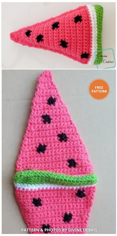 Wedge Of Watermelon - 10 Cutest Free Amigurumi Watermelon Crochet Patterns