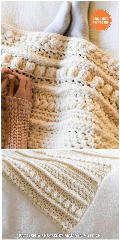 Wintertide Throw Blanket - 15 Quick & Easy Modern Crochet Blankets & Throws